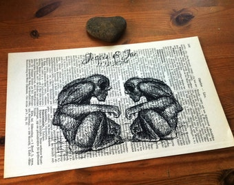 Monkey Love Wedding Engagement Anniversary Valentine Gift Personalized Art Print on Antique 1896 Dictionary Book Page