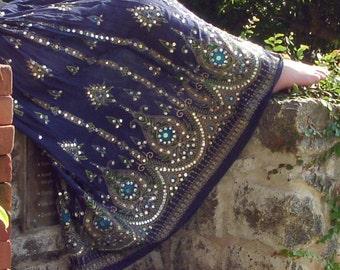 Navy Blue Gypsy Skirt, Boho Maxi Skirt, Long Indian Peasant Skirt, Bohemian Skirt, Bollywood Belly Dance Sequined Skirt, Festival Clothing