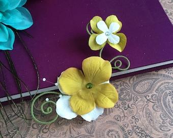 green and white hydrangea flower hair clip - twisted wire flower hair clip, olive green, faery hair