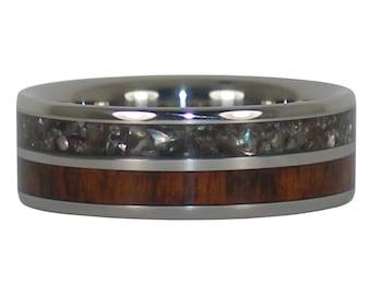 Black Pearl and Snakewood Titanium Ring
