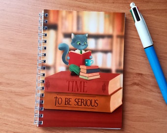 Notebook serious cat - cover illustrated, handmade