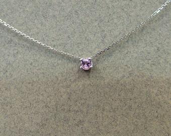 Pink Sapphire Pendant 14k White Gold/ White Gold 14k Genuine Pink Sapphire 0.13ct Necklace/ Minimalist Pink Sapphire Necklace