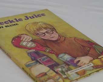 Old Childrens books. Judy Blume Freckle Juice 1970s retro vintage kids book. Hard cover bedtime story picture book. Reading gift for tween