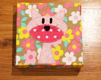 Pink Skinny Cat - Nursery Wall Art - Toddler Room Wall Art - Fabric Canvas Print - In Stock Ready to Ship!