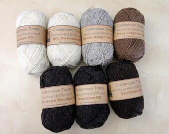 Rare or single breed British wool, natural undyed. DK weight: Balwen, Manx Loaghtan, Zwartbles, BFL cross, Hebridean, Welsh mountain Torddu