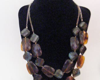 Vintage 2 Strand  Acrylic Black Brown Blue Beaded Necklace