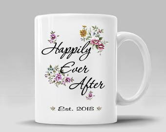 Engagement Bride Engaged Gift Bridal Shower Personalized Date Gift For Bride to be Shower Wedding Gift Floral Coffee Mug_11 - 15 oz Cup_385M