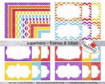 Superhero Frames & Labels: Clip Art Pack Card Making Digital Frames Page Borders Chevron Dots Stripes