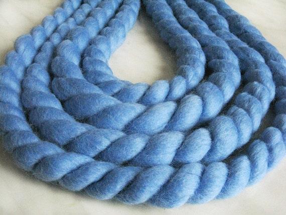 Mega Chunky Mega Bulky Merino Wool Yarn Jumbo Water Blue 5 3oz
