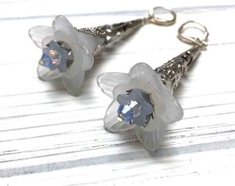 Victorian Filigree Flower Earrings. Long Drop Earrings. Light Blue. Lightweight. Garden. Romantic. Nature. Fairy. Handmade Jewelry.
