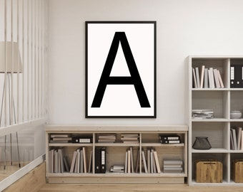 Letter A, A Letter Print, A Initial Print, Printable Art, Scandinavian Poster, Minimal Art, Nordic Home Decor, Modern Art, Digital Print