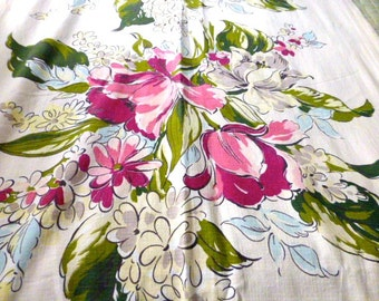 Mid Century  intage Floral Cotton Drapery Panel Fabric 78 by 32 Inches