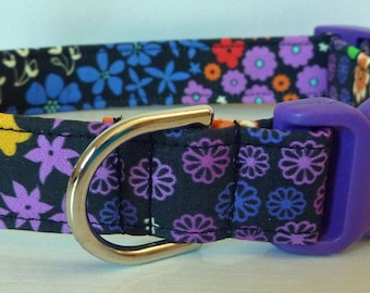 "Girl Dog Collar - Multi Colored Flowers - Floral - ""Flower Garden"" - Free Colored Buckles"