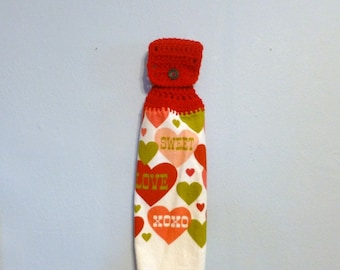 Hanging Kitchen Towel Valentines Day Love Hearts Choice of Top Color