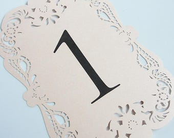 Laser Cut Table Number Cards, Elegant Table Number Cards, Table Number Cards, Wedding Table Numbers, Vintage Table Numbers,  Table Numbers