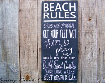 Signs, Beach Rules, Beach, Coastal Decor, Handpainted, Typography, Wood Signs,  Nautical