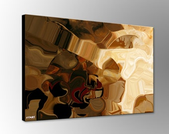 Brown Modern Abstract Print on Canvas -  Stretched and Ready to Hang - Home or Office Wall Decor - by Osnat