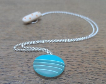 Resin pendant - mini deep turquoise pendant with blue stripes