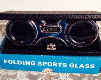 Pockette Instafocus Pop Up Folding Sports/Opera Glasses, 2.5 x 25, in Original Box, circa 1950's, Made in Japan