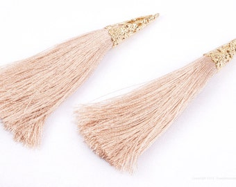 T003-03-G-BE// Gold Plated Cone Beige 77mm Tassel Pendant, 2 pcs