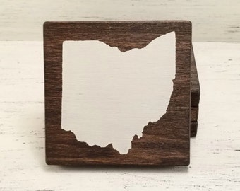 Pick State, Pick Color, Ohio Wood Coasters, Set of 4, Wedding Gift, Housewarming Gift