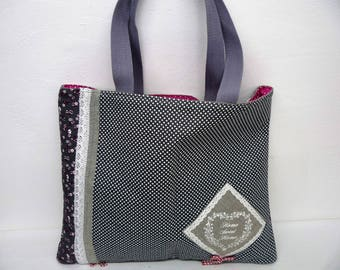 Any fabric tote bag grey, flowers, fabric bag handbag grey dots