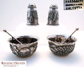 Rare Indian Colonial SILVER Dass & Dutt (c1890) Antique Sterling Grade Salt Cellar Pepper Pot Pepperette Dish Bowl Cruet Condiment Spoon