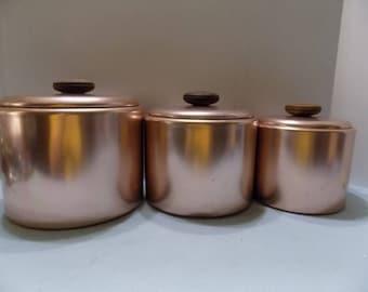 Mirro Aluminum/ Copper Color Canisters w/ Lids Nesting Set / 6 Pieces