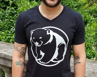 BEAR CUB 100% cotton, Gildan brand, short-sleeve black, V-neck tee shirt in sizes extra small to 3XL