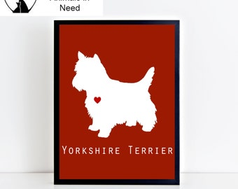 Yorkshire Terrier (Yorkie) Printable Wall Art - Modern and Clean Yorkshire Terrier (Yorkie) Puppy Dog Decor - Custom Background Color - 8x10