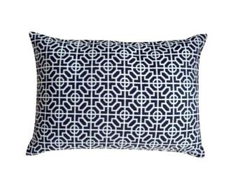 Designers Guild Black and Beige Geometric Pattern Lumbar Pillow