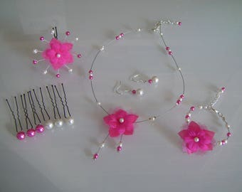 Set (without bracelet) jewelry Original necklace earrings spikes hair pink/Fuchsia/ivory wedding/marriage/evening beads flower