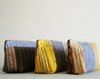 Set Of 3 , Kantha Cosmetic Pouch , Vintage Kantha Cosmetic Bag, Coin Purse , Brides Maids Gift, Wedding Favor
