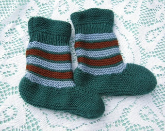 ON SALE - Beautiful Green Blue with a touch of Brown Socks Hand Knitted for a Baby Boy or Girl.