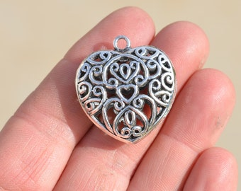 5 Silver Plated Puffed Heart Pendants SC2135