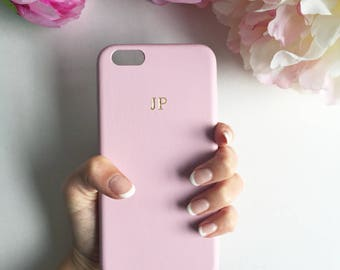 Soft Pink PU leather embossed phone case - embossed leather case, iPhone 8 Plus case, pink and gold phone case, silver embossed iPhone 7