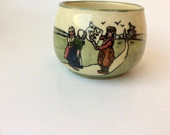 Vintage Small Pot or Bowl Made In Austria/Vintage Planter/Vintage Art Pottery/Hand Painted Pot/Hand Painted Pottery/Vintage Austria/Dutch