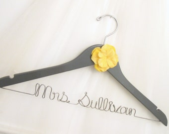 Grey & Yellow Flower Wire Wedding Hanger - Painted Dark Gray or other Custom Bridal Color, Personalized