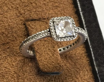 Gorgeous Designer PANDORA 925 ALE Sterling Silver Timeless Elegance Clear Square Cubic Zirconia Ring