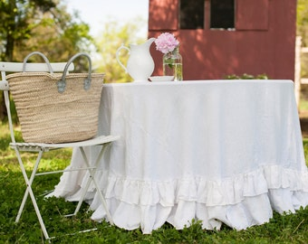 Tablecloth - Round Floor Length Ruffled Linen