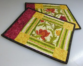Quilted Snack Mats, Set of 2, Handmade Mug Rugs, Reversible, Placemats, Housewarming gift, Candle Mat, Art for your table,