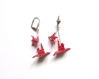 Origami Earrings Birds Red