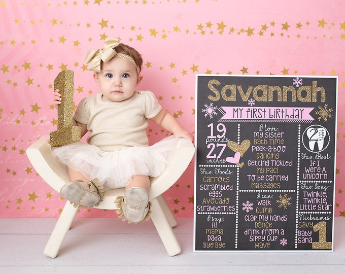 Pink and Gold Chalkboard / Pink and Gold Hearts Chalkboard/ Pink and Gold First Birthday Chalkboard / Girl First Birthday Chalkboard Sign