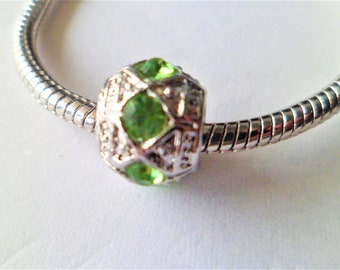 1 Charms rhinestone green alloy silver 10 x 9 mm, for her, beads European large hole 4 mm to Bracelets snakes rigid leather 3 mm