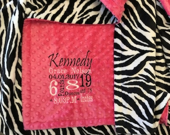 Personalized Custom Embroidered Minky Blanket in dimple dot fuchsia/zebra
