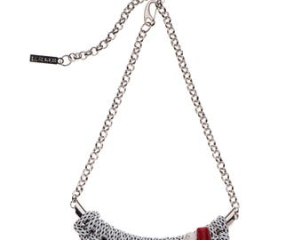 Menuki Necklace - White and Black knitted rope, red coral, grey Rhinestone, white glass bead, metal chain