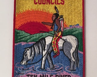 Vintage Big Greater New York Councils Ten Mile River Scout Camps Embroidered Patch Rectangular