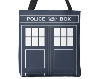 Dr. Who Tote Bag -  Tardis Tote Bag, School Accessories, Gift Idea