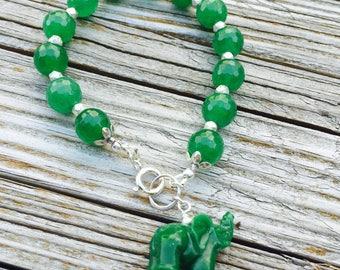 Green Bracelet - Jade Gemstone Jewelry - Elephant Jewellery - Beaded - Sterling Silver - Chunky - Charm