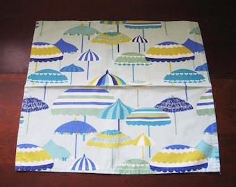 Vietri Napkins Blue Umbrellas, Beach Umbrella, Vintage Napkins, Set of 6, Tropical Decor, Italian Cloth Napkins, Designer, 100% Cotton, USA
